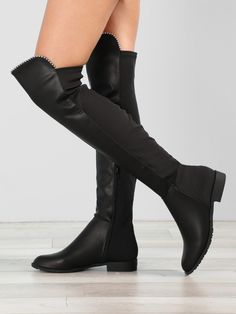 Faux Leather Over The Knee Boots With Stud Accents skirt skirt skirt skirt outfit skirt for teens midi skirt Flat Leather Boots, Leather Over The Knee Boots, Over The Knee Boot Outfit, Over Boots, Below The Knee Boots, Flat Boots, Thigh High Boots, High Heel Boots, Heeled Boots
