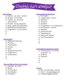 ADWIES | checklist start schooljaar My Future Job, School Checklist, Teacher Hacks, Back To School, Kindergarten, Preschool, Classroom, Teaching, Starters