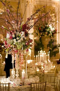 Gorgeous wedding centerpiece using flowers & branches