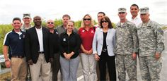 Assistant Secretary of the Army for Civil Works Jo-Ellen Darcy (fourth from right) celebrated the completion of a critical project milestone for the Tamiami Trail Modifications project alongside members of the U.S. Army Corps of Engineers team at the Tamiami Trail One-Mile Bridge Opening Ceremony March 19, 2013, in Miami, Fla. (From left: Chris Rego, South Atlantic Division Commander Col. Donald E. (Ed) Jackson, Tim Brown, Nestor Rivera, David Hobbie, Shealy Bowell, Kim Taplin, Michael…