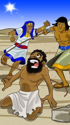 Moses rescues a Hebrew slave.