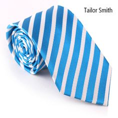 Tailor Smith Natural Pure Silk Woven Jacquard Striped Necktie Classical Formal Blue Business Rainbow Color Wedding Dress Tie