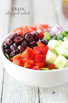 "A healthy mediterranean-syle salad with a Greek dressing ""so delicious you could drink it straight!""."