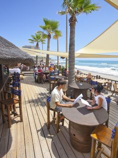 Chilling out at Luna Beach Bar in Benalmádena, Spain