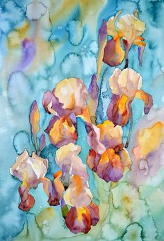 Rainy irises, Art Print of my original watercolor painting, flower painting, watercolor flower. Shipping costs included. EsperoArt.