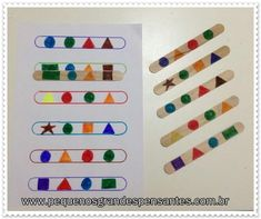 Lolly-pop stick shape pattern match-up activity Preschool Learning Activities, Toddler Activities, Preschool Activities, Teaching Kids, Dinosaur Activities, Teaching Geography, Montessori Materials, Kids Education, History Education