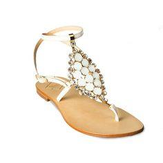 Sandalo pelle vernice bianco latte pietre bianche cry rombo  
