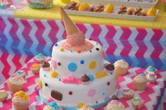 Gorgeous ice cream and candy cake at a Sweets Shoppe Party #sweets #partycake