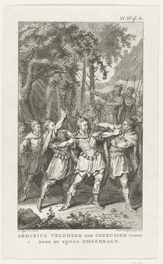 Reinier Vinkeles | Moord op de Germaanse veldheer Arminius, 19, Reinier Vinkeles, 1786 | De Germaanse veldheer Arminius, leider van de stam der Cherusken, wordt in 19 (volgens Muller in het jaar 17) door leden van zijn eigen stam vermoord.