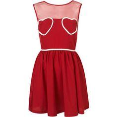 Petite Heart Mesh Flippy Dress