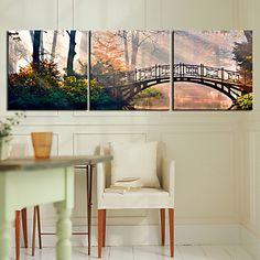 Kunst op stretchdoek, landschap met brug- set van 3 - EUR € 51.57
