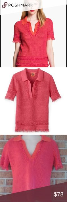 Tory Burch Brielle Polo Sweater XS. Length: Approximately 22 inches. Approximately 16 inches from armpit to armpit. Bohemian fringe. Pique knit polo with v-neck and collar. Contrast collar and placket. Unlined. 100% Cotton . Tory Burch Sweaters