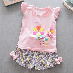Specification: Sleeve Length:Short Sleeve Neckline:O-neck Color:Yellow,Pink Style:Casual,Cute Tops Length:Regular Pattern:Printed Material:Polyester,Cotton Season:Summer Package Baby Outfits, Outfits For Teens, Cool Outfits, Baby Girls, Cute Baby Girl, Toddler Girls, Baby Baby, Little Girl Fashion, Kids Fashion