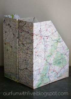 Up-cycled Magazine Files: from cereal boxes & maps