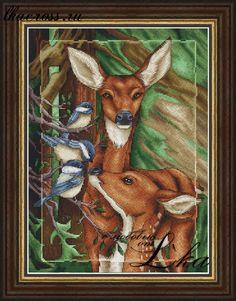 Схема для вышивки крестом. Cross stitch pattern. Жители леса - Олени