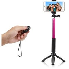 Accmor Rhythm Pro Extendable Handheld Monopod with Mini Tripod Stand and Bluetooth Remote Shutter for iOS Android Smartphones, Digital and POV Cameras Rose Red