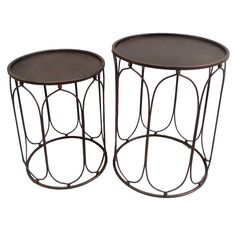 Three Hands Set of 2 Metal Accent Table Copper - 76285