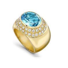 Kiki McDonough Blue Topaz and Diamond Ring