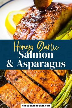 This easy and healthy one pan recipe is perfect when you need dinner on the table fast. Honey garlic salmon is ready to serve in less than 30 minutes and it's a flavorful dinner that the whole family will love! Thanks to @aldiusa this meal is cost effective, EASY, and super high quality. #sponsored Salmon Recipes, Fish Recipes, Seafood Recipes, Beef Recipes, Dinner Recipes, Cooking Recipes, Healthy Recipes, Weekly Recipes, What's Cooking