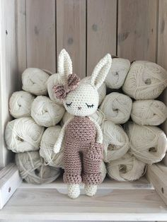 Crochet Toys For Boys Lovely amigurumi crochet bunny boy with salopette trousers - hand crochet soft cuddly toy - perfect soft cuddly toy for your child. Colors: the main color of the bunny is natural-white, the color of the salopette Crochet Bunny, Crochet Animals, Crochet Dolls, Hand Crochet, Knitted Bunnies, Newborn Toys, Baby Toys, Amigurumi Patterns, Crochet Patterns