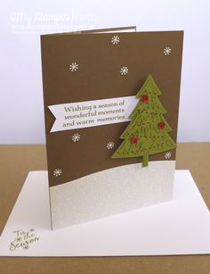 Peaceful Pines, Perfect Pines Framelits, Sleigh Ride Edgelits, Red Foil Christmas card #MyStampinHaven #StampinUp
