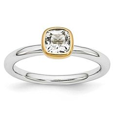 Sterling Silver Stackable Expressions w/ Gold Plated Square White Topaz Gemstone Ring - Size 10 >>> More info could be found at the image url.