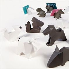 Origami Zoo from Soulfun Design with tails that can hold business or place cards.