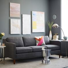 Hamilton Upholstered Sofa #westelm (putty gray, caviar, gray haze, charcoal herringbone, feather gray crosshatch).