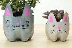 Get Ready To Cry From Cuteness Over These DIY Cat Planters