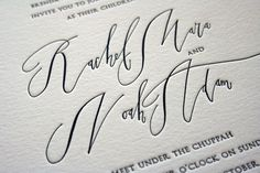 Two things I love about these invitations 1. calligraphy and 2. letterpress