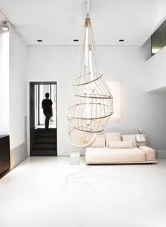 This rather haphazard looking pendant by French designer Constance Guisset for Molteni utilises grandiose proportions to dramatic effect. Tumbling from the roof, the 'Mo' lamp strikes a firm pose centre stage in any living environment. Cool Lighting, Modern Lighting, Lighting Design, Pendant Lighting, Modern Chandelier, Lighting Ideas, Chandeliers, Home Interior, Interior And Exterior