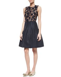 Dahlia Lace Combo Fit-And-Flare Dress by Oscar de la Renta at Bergdorf Goodman.