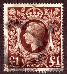 Great Britain #275 KGVI  Red Brown 1£  Used 1948 Wtrmkd 259  Crown Large G VI R