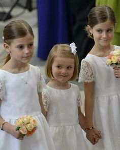 Flower girls...Crown Princess Estelle of Sweden during wedding ceremony of her uncle Prince Carl Philip and Sofia on June 13, 2015.
