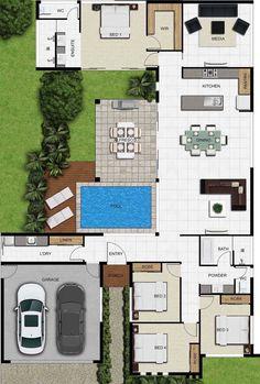 na dream House House Layout Plans, Dream House Plans, House Layouts, House Floor Plans, House Floor Design, Modern House Design, 2 Bedroom House Plans, Architectural Design House Plans, Sims House