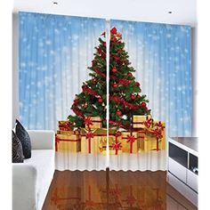 Christmas Tree Blue Snowy Sky Window Bedroom Living Room Dining Room Kids Youth Room Curtain Panels One of a Kind 2 Panel Set - Machine Washable Silky Satin Window Treatment (Blue Sky, 108Wx90L) *** To view further for this item, visit the image link. (This is an affiliate link)