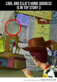 Disney Easter Egg- Carl and Ellie's address is in Toy Story 3