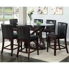 Furniture of America Escalie 7-Piece Oval Counter Height Set