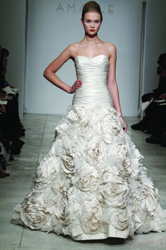Strapless Taffeta drop waist gown with ruched bodice and sweetheart neckline. Hand-made Taffeta and Organza flowers adorn the skirt.