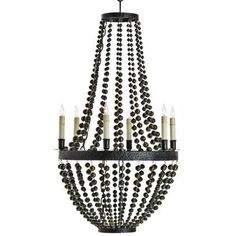The Carsten Chandelier from Arteriors is a stunning iron and brass, 6 light chandelier. A traditional chandelier shape is updated by the unique use of brass beads draped from top to bottom of this fabulous chandelier.      As seen in Elle Decor.