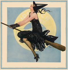 1920's Ipswich hosiery advertisement with witch