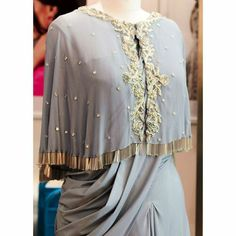 CAPE OBBESSION Grey draped saree and cape with gold zardozi embroidery by Ethenic Wear, Drape Sarees, Eastern Dresses, Fashion Vocabulary, Draped Dress, Indian Designer Wear, Indian Wear, Blouse Designs, Indian Fashion