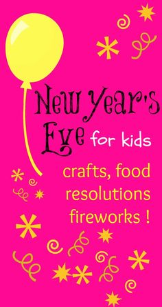 New Year's Eve for kids: crafts, food and lovely resolution ideas for the kids to have fun as while adults have their New Year's Eve fun too! No need to hire a babysitter when kids can have fun and stay preoccupied as well New Year's Crafts, Holiday Crafts, Holiday Fun, Crafts For Kids, Holiday Themes, New Years Activities, Holiday Activities, Activities For Kids, Kids New Years Eve