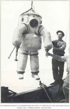 Deep sea diver equipped with a little hammer.
