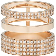 Repossi Women's Berbère Module Cage Ring (€12.925) ❤ liked on Polyvore featuring jewelry, rings, no color, triple ring, 18 karat gold ring, pave ring, clear rings and triple band ring