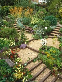 If your front or backyard includes a hill or hillside space you need a landscape design plan that allows for maximum beauty with minimal maintenance.A sloped backyard comes alive with water-wise Hillside Garden, Gravel Garden, Sloping Garden, Garden Paths, Herb Garden, Garden Beds, Garden On A Hill, Terraced Landscaping, Landscaping Ideas
