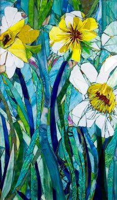 Giant Daffodils, wow, I personally LOVE this piece! The idea for this design was derived from a tiny card I had received. I loved the image
