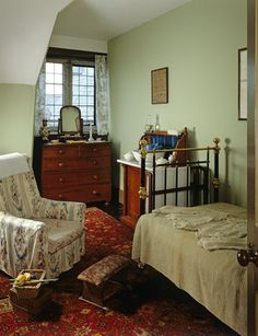 The servants bedroom at Lanhydrock. Many Devonians entered domestic service in large West Country houses such as Lanhydrock, Cornwall.