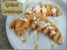grilled cantaloupe with goat cheese and honey! watermelon works too (and no need for the toppings!) :)