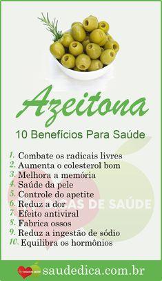 Os 10 Benefícios da Azeitona Para Saúde  #azeitona #dicas #saúde #receitas #truques #dicasdesaude #dicasdebeleza #receitascaseiras #receitasnaturais #dicasparaemagrecer #fitness #detox #benefíciodaazeitona #benefíciosdaazeitona #praqueserveaazeitona #azeitonabenefícios #azeitonabenefício #azeitonaparaqueserve #azeitonaengorda #azeitonaemagrece Healthy Diet Recipes, Healthy Life, Health Tips, Health And Wellness, Dieta Atkins, Light Diet, Nutrition, Natural Medicine, Natural Health